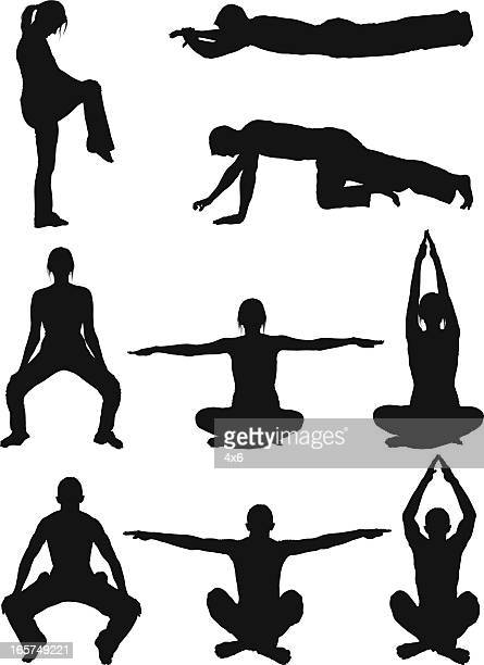men and women body sculpting doing yoga - standing on one leg stock illustrations, clip art, cartoons, & icons