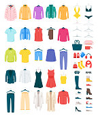 Men and women clothes on hangers vector illustrations set