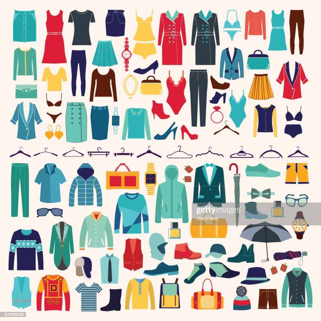 Men and women clothes vector icon set.