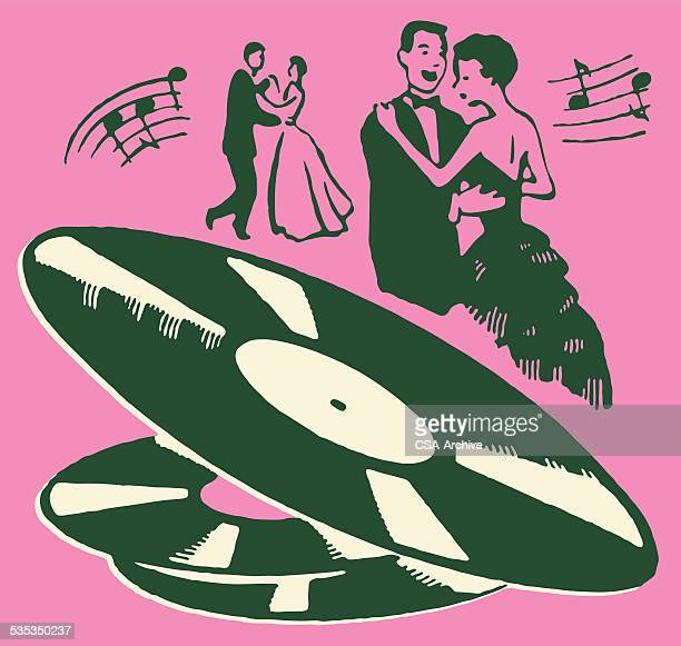 Men and Women Dancing to Records