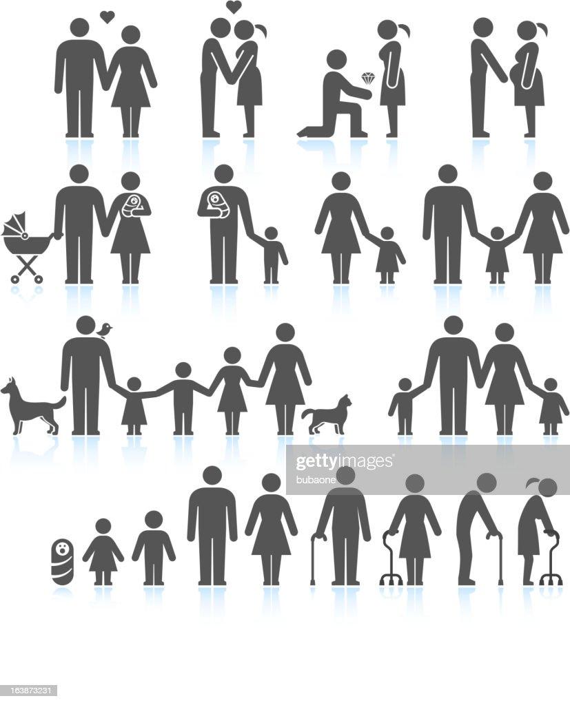Men and women Family Life black & white icon set : stock illustration