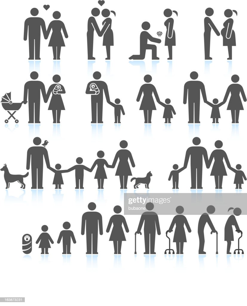 Men and women Family Life black & white icon set