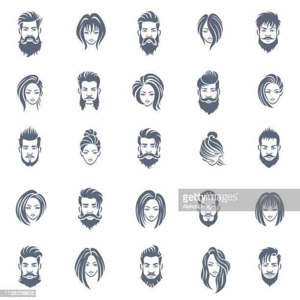 illustrations, cliparts, dessins animés et icônes de hommes et femmes coiffure icône ensemble - coiffure homme