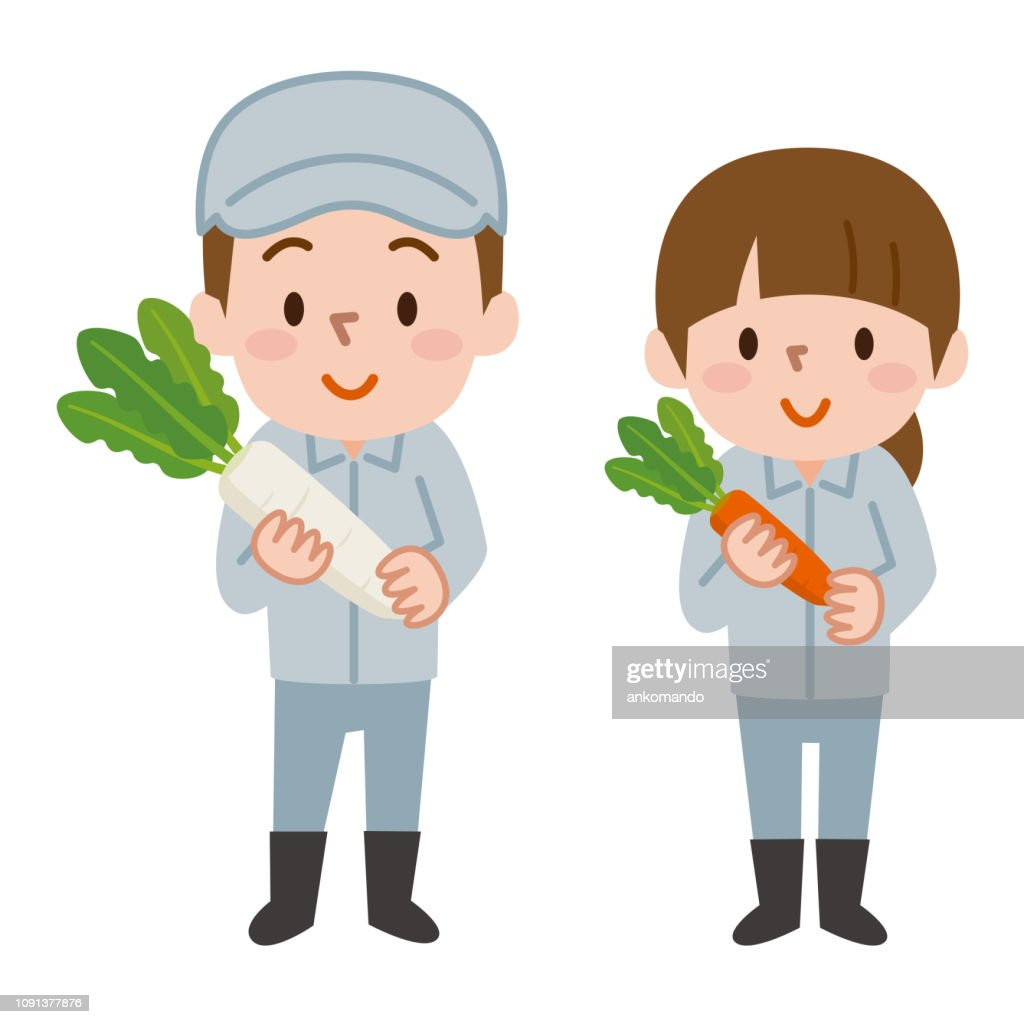 Men and women holding vegetables