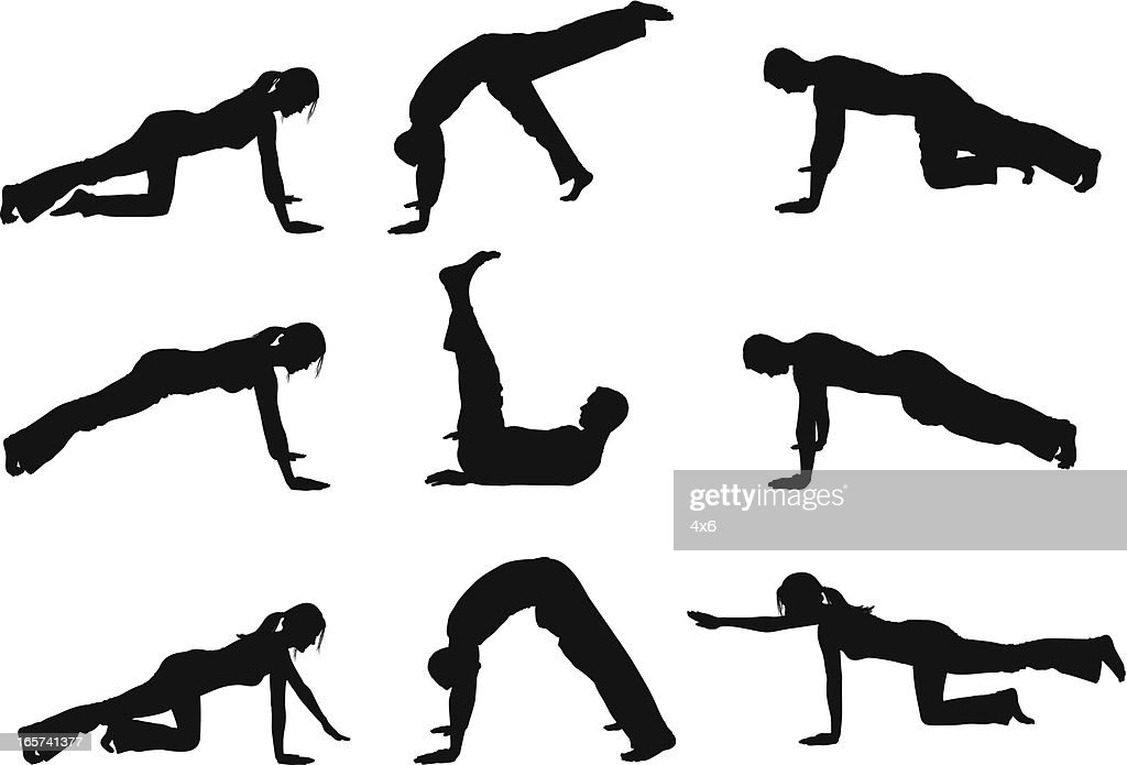 Men and women holding yoga positions : stock illustration