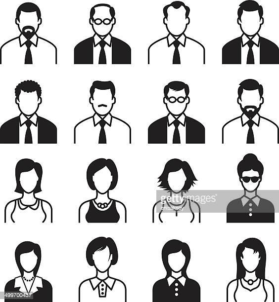 men and women icon set, black & white - mature adult stock illustrations