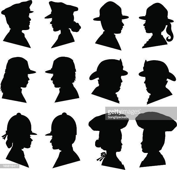 Männer und Frauen in Uniform-Hüte