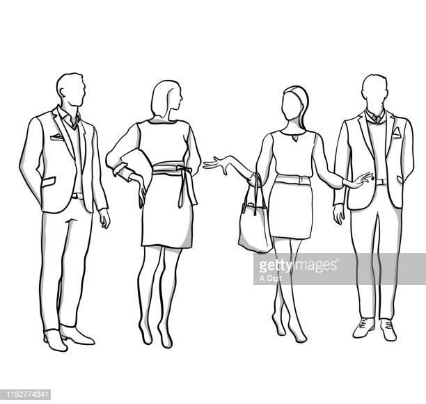 illustrations, cliparts, dessins animés et icônes de mannequins hommes et femmes - costume habillé