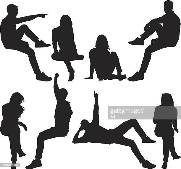 men and women on ledge - aiming stock illustrations