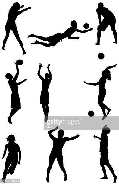 illustrazioni stock, clip art, cartoni animati e icone di tendenza di uomo e donna, giocare a pallavolo - pallone da pallavolo