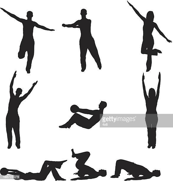 men and women practicing yoga - standing on one leg stock illustrations, clip art, cartoons, & icons