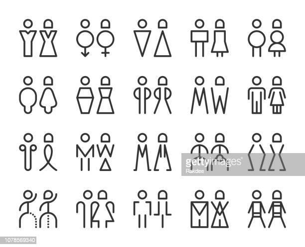ilustraciones, imágenes clip art, dibujos animados e iconos de stock de hombres y mujeres muestra - los iconos de línea - bathroom