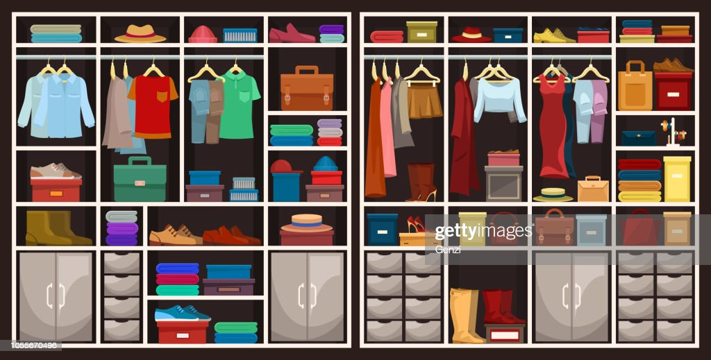 Men and women wardrobes with clothing, fashion theme