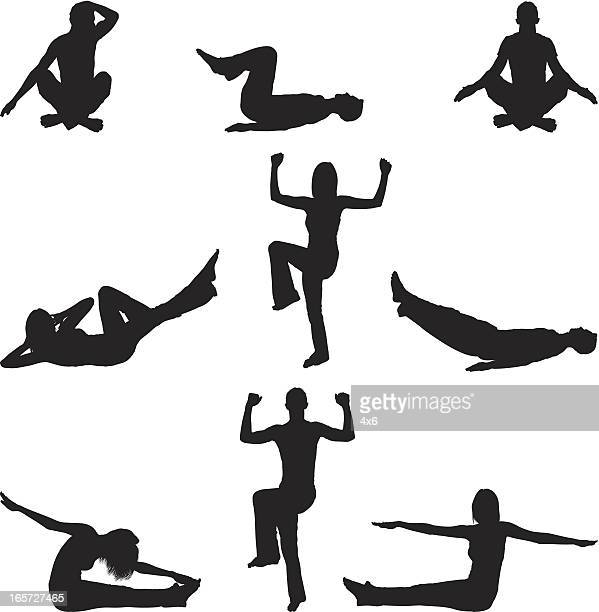 men and women working out doing yoga with aerobics - touching toes stock illustrations, clip art, cartoons, & icons