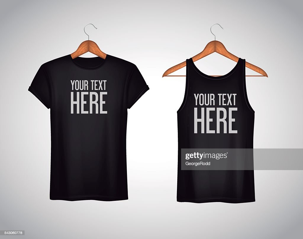 Men black tank top and t-shirt. Realistic mockup whit text