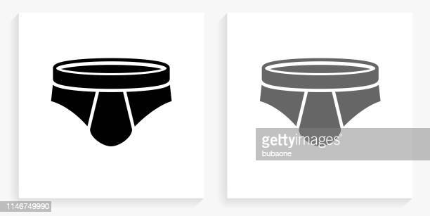 men briefs black and white square icon - underwear stock illustrations, clip art, cartoons, & icons