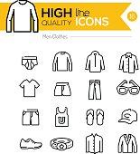 Men Clothes line icons series