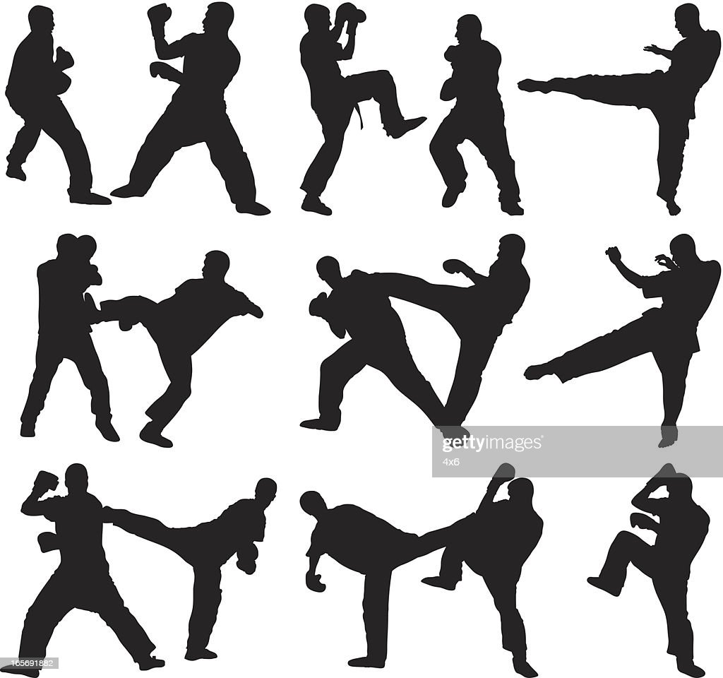 Men doing kickboxing