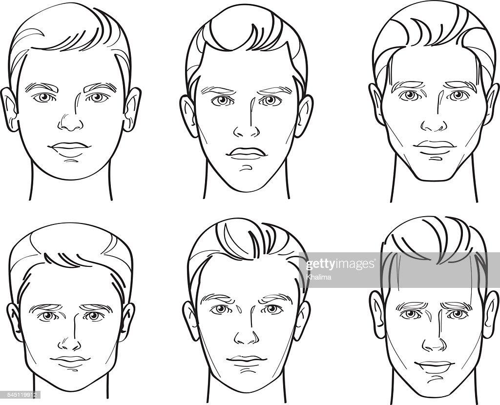 Men Face Shape Line Drawing Illustration