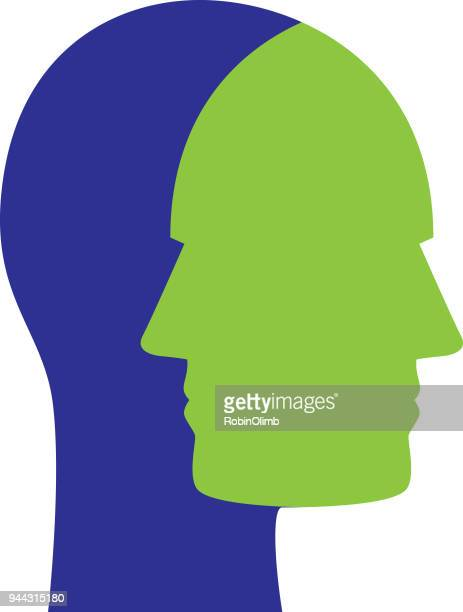 men face to face heads - homosexual couple stock illustrations