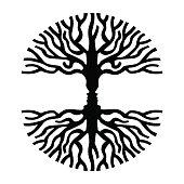 Men faces in tree silhouette optic art symbol