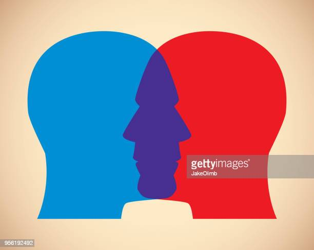 men faces overlapping - politics concept stock illustrations