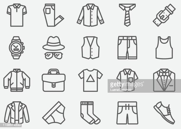 men fashion accessories line icons - messenger bag stock illustrations, clip art, cartoons, & icons