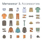 Men fashion clothes and accessories flat line colorful vector icons