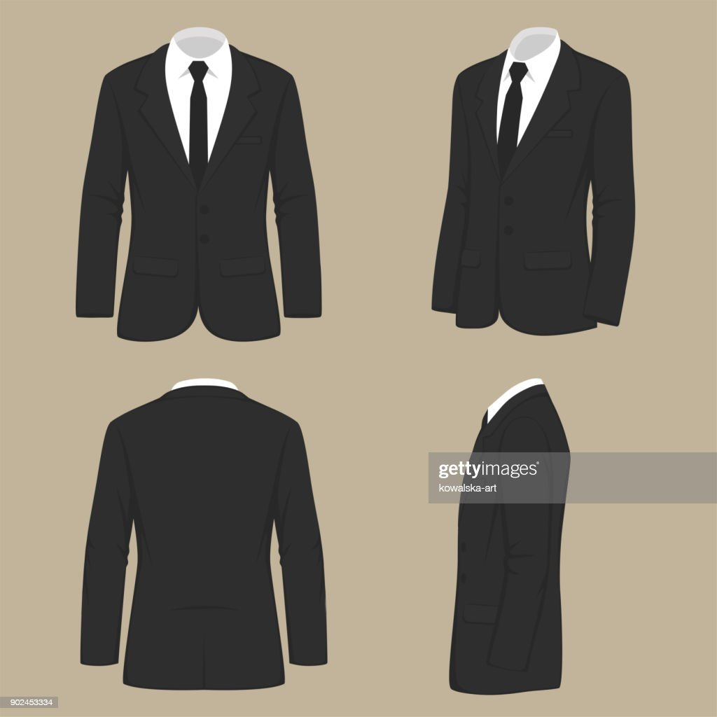 men fashion, suit uniform, back side view of jacket