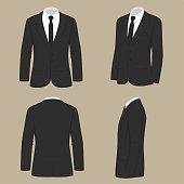 men fashion, suit uniform, back side view of jacket