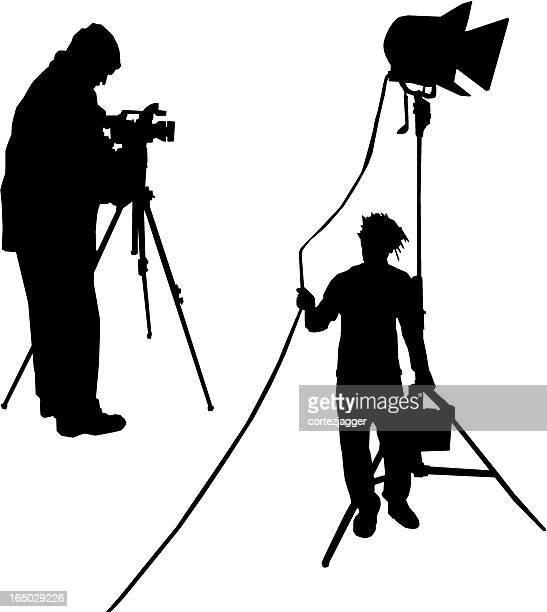 Men Filming Silhouettes (vector illustrations)