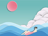 men floating on  beautiful sea background  paper cut style .candy color vector style.