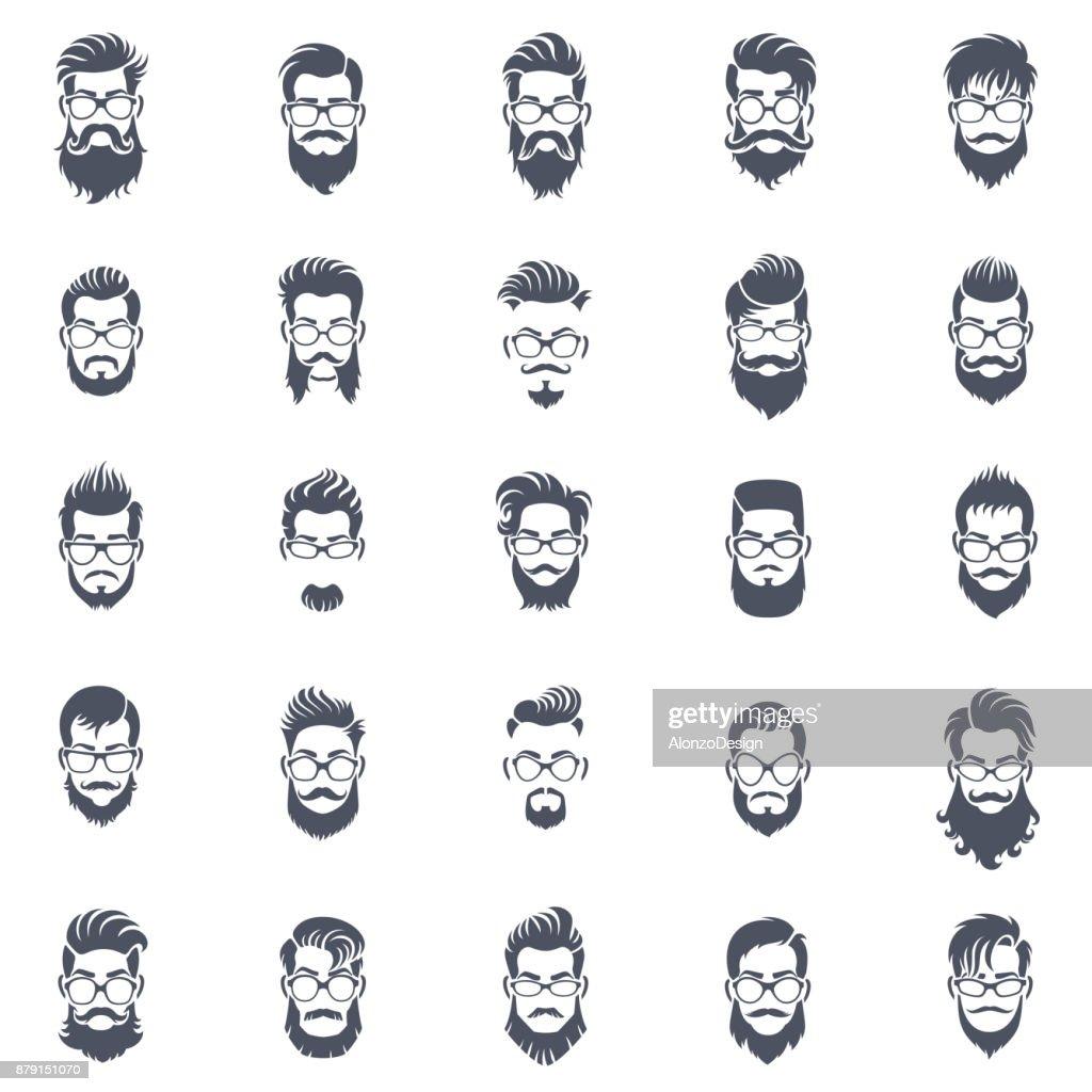 Men Hairstyle Icon Set : stock illustration