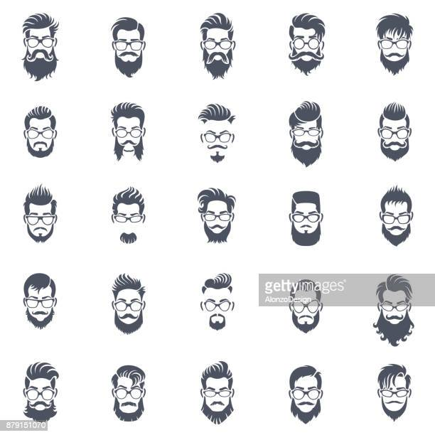 men hairstyle icon set - beard stock illustrations