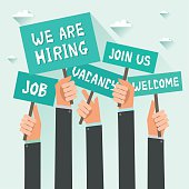 Men hands holding signs with Vacancy, Job, We are hiring