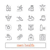 Men health, medicine and lifestyle thin line icons.