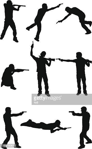 Homme avec un pistolet lutte Gerbera