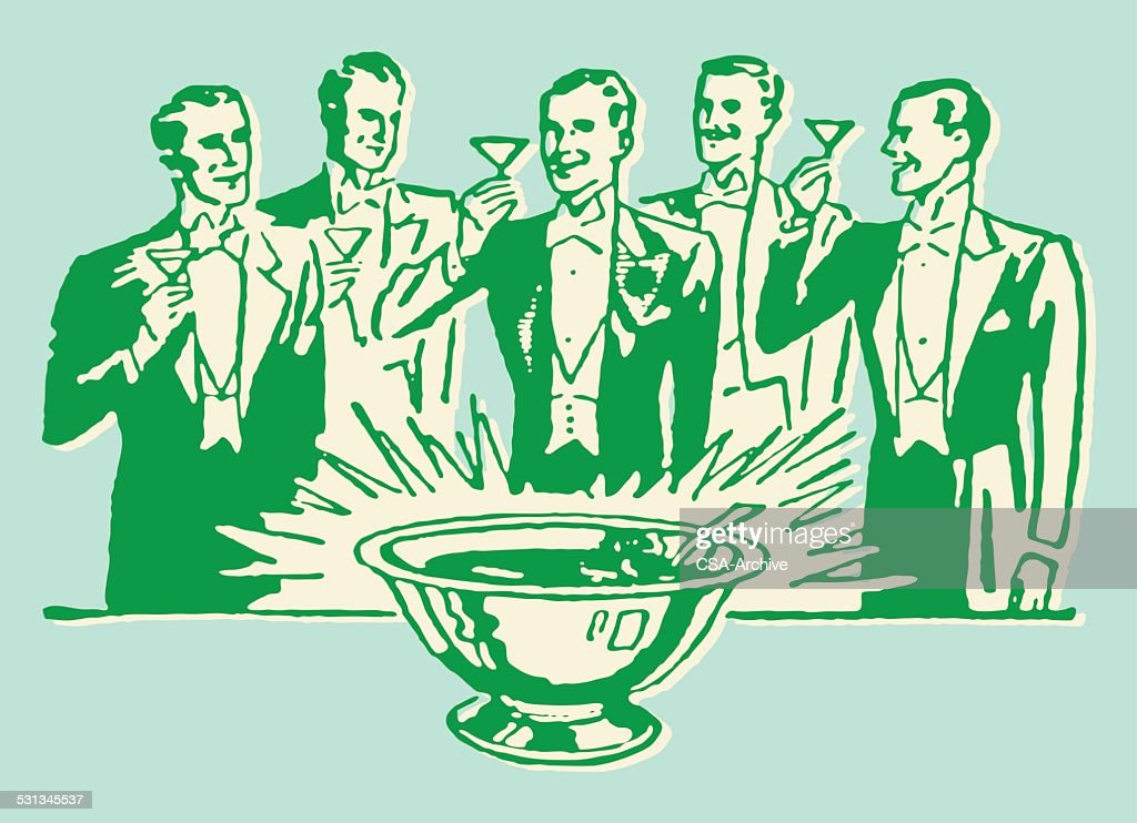 Men in Tuxedo Toasting Around Punch Bowl : stock illustration