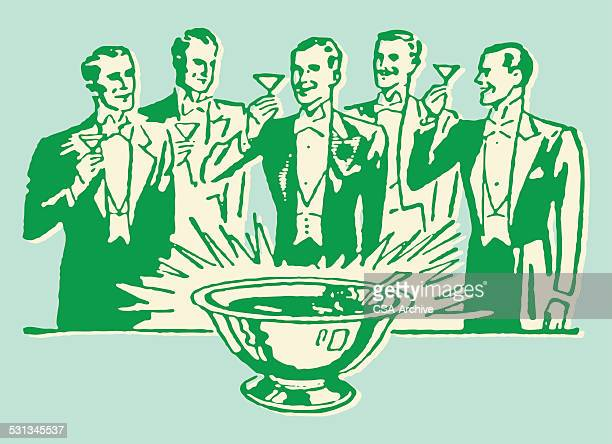Men in Tuxedo Toasting Around Punch Bowl