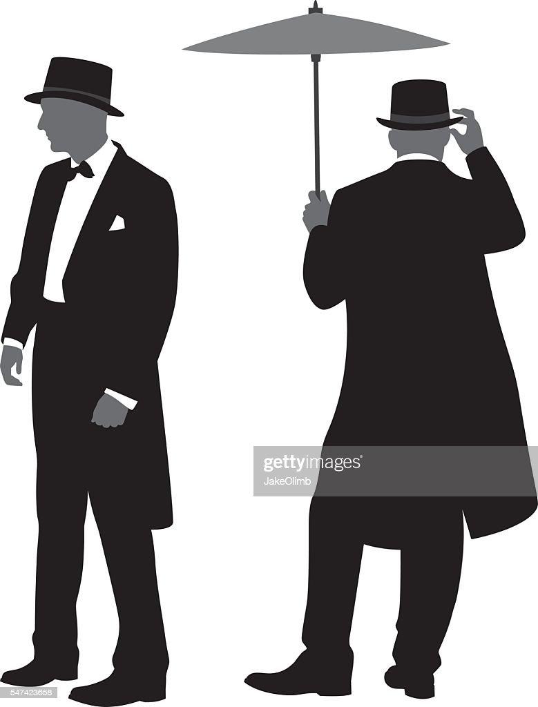 Men in Tuxedos Silhouettes 2 : stock illustration