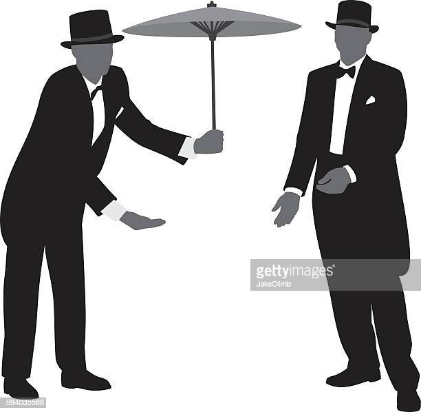 men in tuxedos silhouettes 3 - butler stock illustrations, clip art, cartoons, & icons