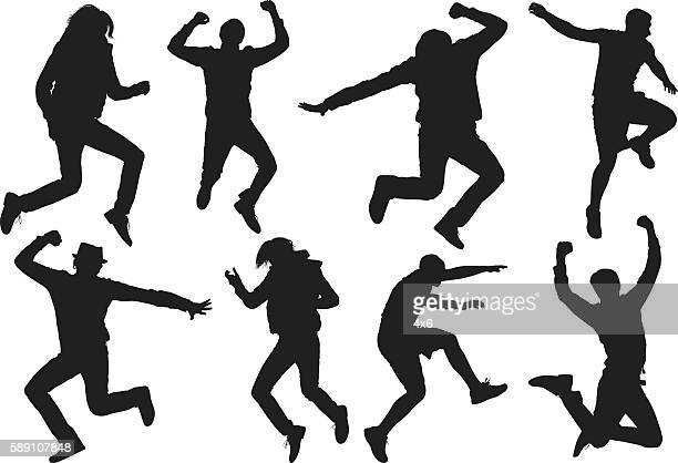 men in various actions - ecstatic stock illustrations