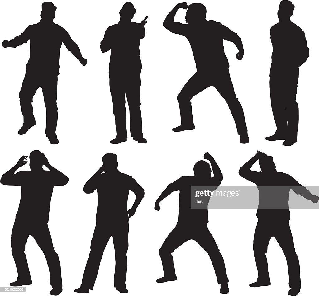 Men in various actions