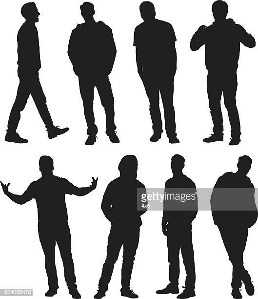 men in various actions - hooded top stock illustrations