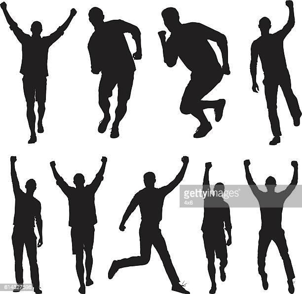 Men jumping and cheering