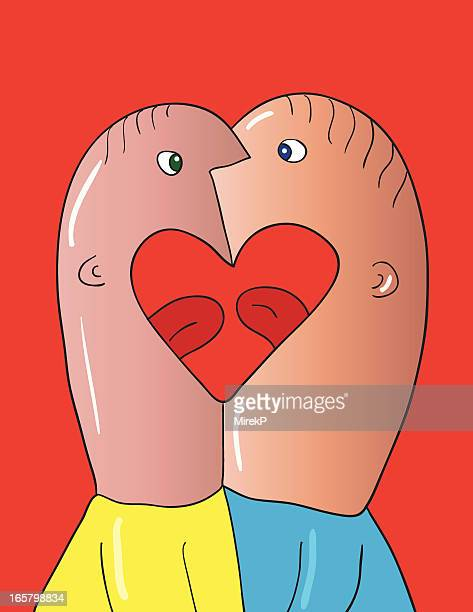men kissing - kissing on the mouth stock illustrations, clip art, cartoons, & icons