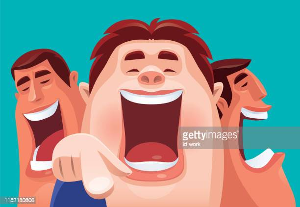 men laughing and pointing - three people stock illustrations