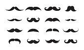 Men mustache styles black vector icons set