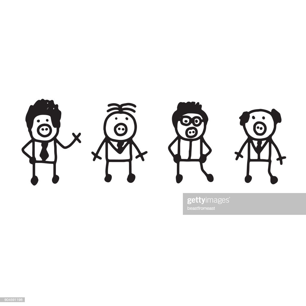 men pigs sketchy stick people vector art getty images