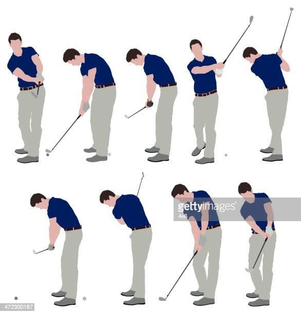 men playing golf - golf swing stock illustrations, clip art, cartoons, & icons